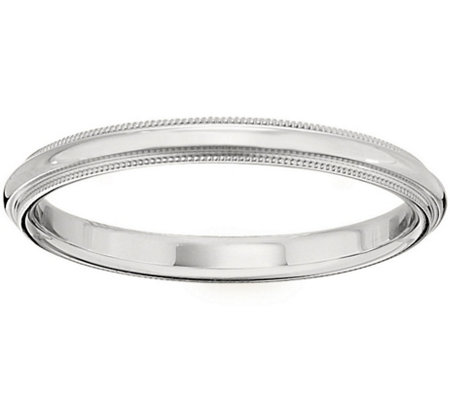 Men's 18K White Gold 2.5mm Milgrain Wedding Band