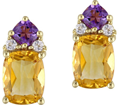 Sterling 4.25 cttw Citrine and Amethyst Earrings