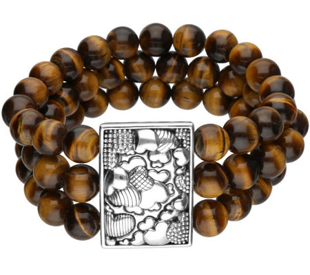 Elyse Ryan Sterling Tiger's-Eye 3-Row Beaded Bracelet