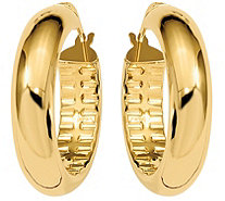 Italian Gold Textured Inside Hoop Earrings, 14K - J385647