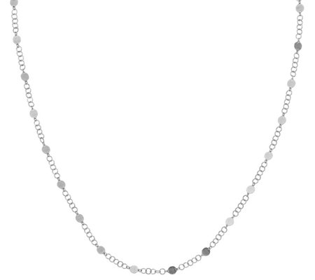 Italian Silver Textured Disk Station Necklace,5.6g