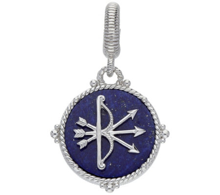 Judith Ripka Sterling Blue Lapis Bow Arrow Pendant