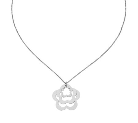 Italian Silver Dimensional Flower Necklace