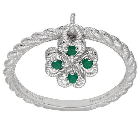 Judith Ripka Sterling Green Chalcedony 4 Leaf Clover Ring