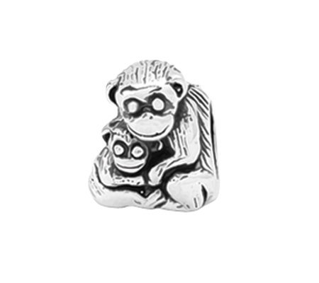 Prerogatives Sterling Mama and Baby Monkey Bead