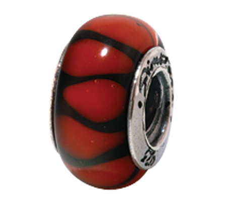 Prerogatives Sterling Red Black Stripe Glass Bead