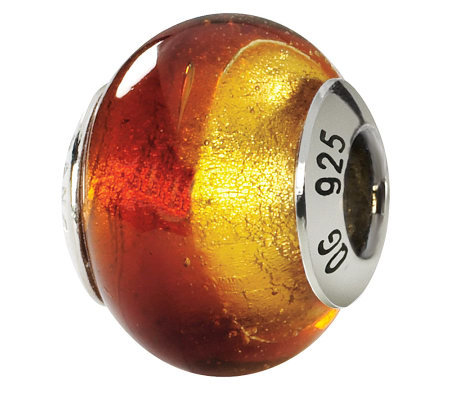 Prerogatives Sterling Yellow & Red Italian Murano Glass Bead