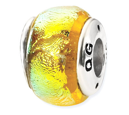 Prerogatives Sterling Yellow Dichroic Glass Bead