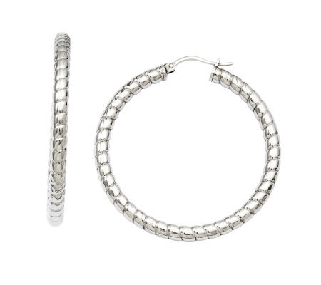 Stainless Steel Ribbed Textured Hoop Earrings