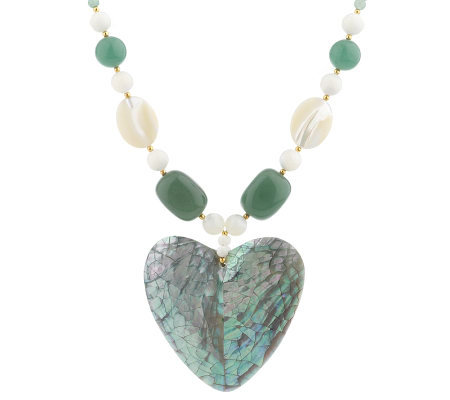 Lee Sands Shell Inlay Heart Pendant on GemstoneBead Necklace