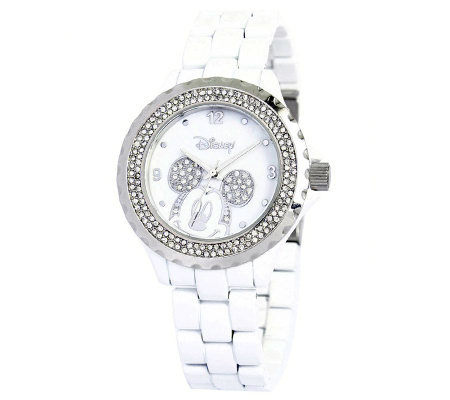 Disney Women's Mickey White Enamel Watch