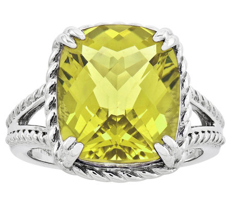 Sterling Choice of Cushion-Cut Gemstone Rope-Border Ring