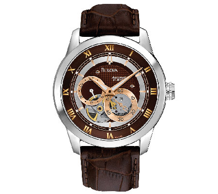 Bulova Men's Automatic Brown Leather Strap Watch