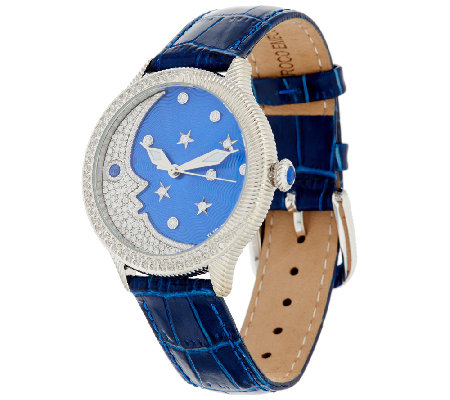 Judith Ripka Stainless Steel & Diamonique Blue Moon Watch