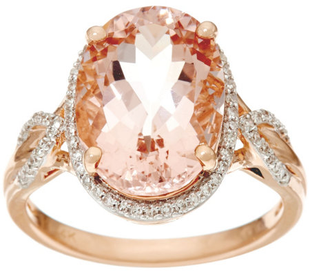 Oval Morganite and Diamond Ring, 14K Gold 5.00 ct