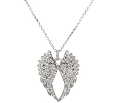 with wing silver set jewellery sparkling cubic angel pendant zirconia