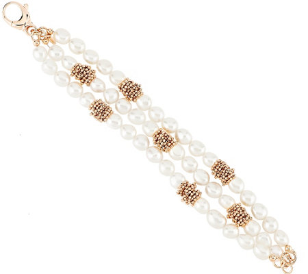 """As Is"" Honora Cultured Pearl 8.0mm Multi- Strand Bronze Bracelet"
