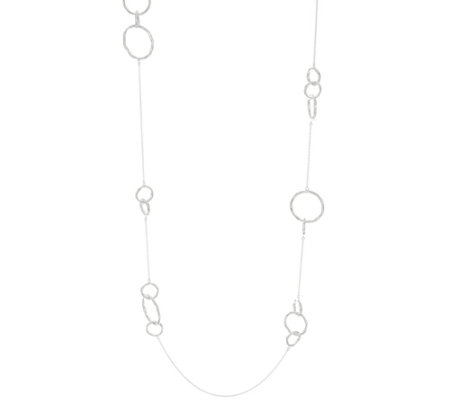 """As Is""Sterling Silver 36"" Hammered Circle Station Necklace, 11.0g"
