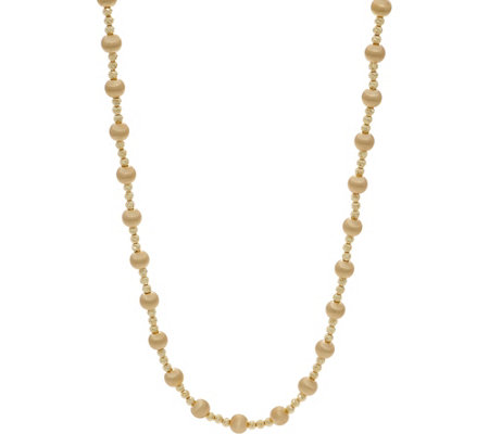 "Italian Gold 24"" Satin Bead Necklace 14K Gold 21.3g"