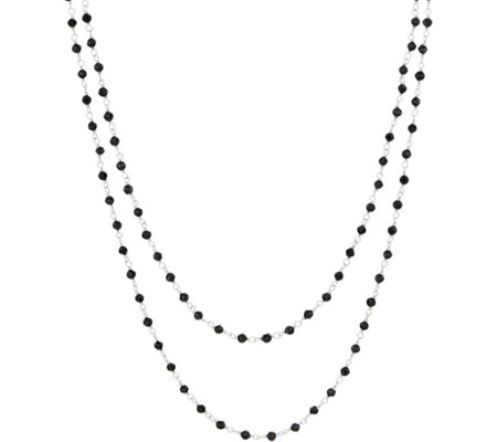 "Italian Silver 23.20 ct tw Black Spinel Sterling 36"" Necklace"