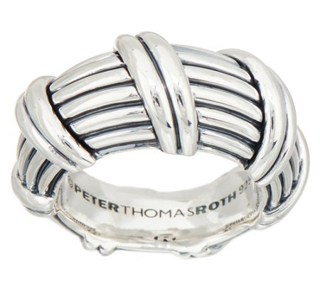 Peter Thomas Roth Sterling Silver Ribbon & Reed Domed Ring