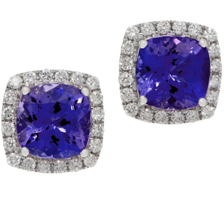 Cushion Tanzanite and Diamond Stud Earrings, 14K, 2.60 cttw