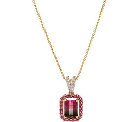 "2.20 cttw Watermelon Tourmaline Pendant w/18"" Chain, 14K Gold"