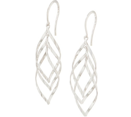 Sterling Silver Twisted Polished Drop Earrings by Silver Style