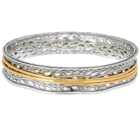 Ships 9/25 Or Paz Sterling Silver Two-tone Spinner Bangle