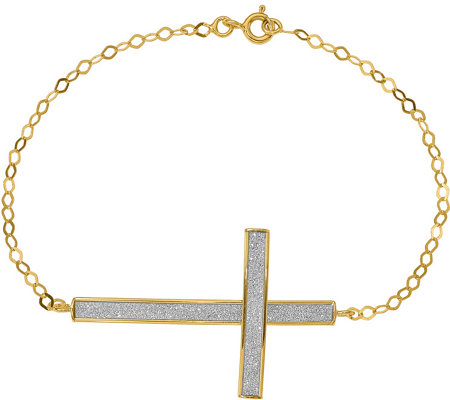 "14K Glimmer Oversized Sidways Cross 7-1/2"" Bracelet, 1.89g"