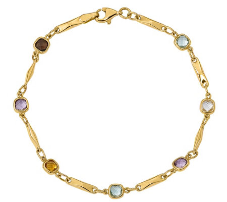 "14K Multi Gemstone Fancy Link 7-1/2"" Bracelet,3.5g"