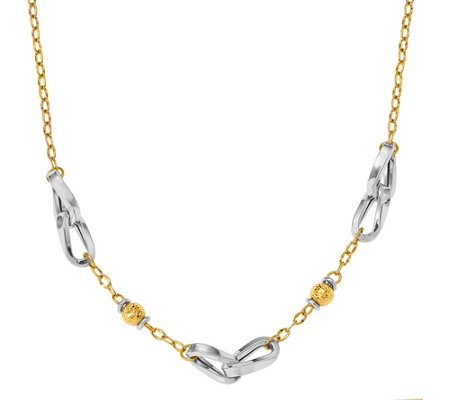 "14K Two-tone Bead & Oval Link 18"" Necklace, 7.4g"