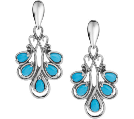 Carolyn Pollack Sterling Turquoise DropEarrings