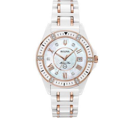 Bulova Women's Ceramic Rosetone Marine Star Diamond Watch