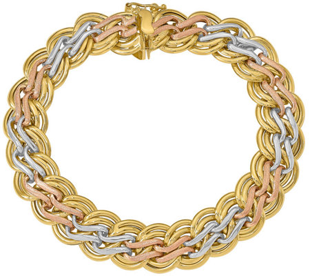 Italian Gold Tri Color Double Wavy Link Bracelet 14k 13 3g