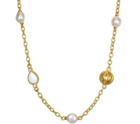 Judith Ripka Sterling, 14K Clad Cultured Pearl,Agate Necklace