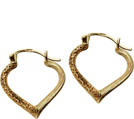 Adi Paz Textured Heart Shaped Hoop Earrings, 14 K Gold