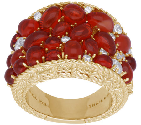Judith Ripka 14K Clad Fire Opal and DiamoniqueSaddle Ring