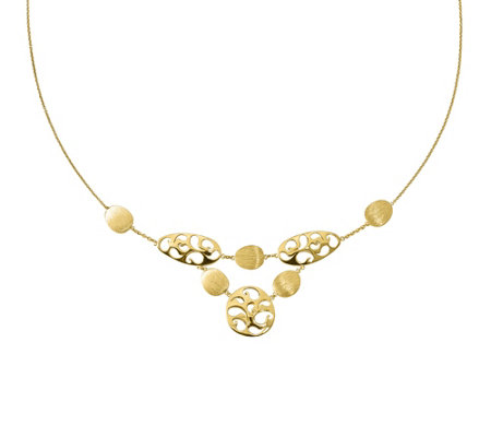 Italian Gold Oval Disk Station Necklace 14K, 5.9g