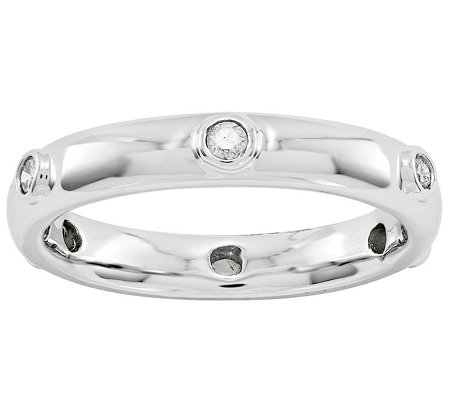 Sterling Silver Diamond Station Ring