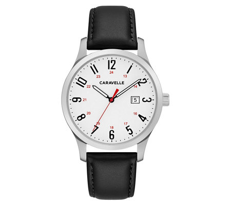 Caravelle Men's Stainless Easy Reader Leather Watch