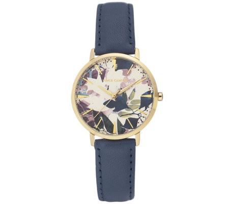 Vince Camuto Women's Floral Dark-Blue Leather Strap Watch