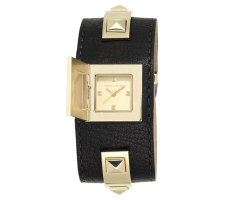 Vince Camuto Women's Goldtone Studded Black Leather Cuff Watch