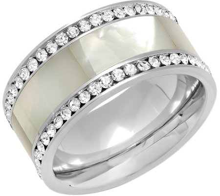 Steel by Design Stainless Mother of Pearl & Crystal Band Ring