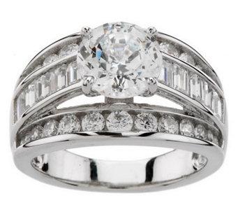 Diamonique 100 Facet 3 50 Cttw Ring Platinum Clad J270349