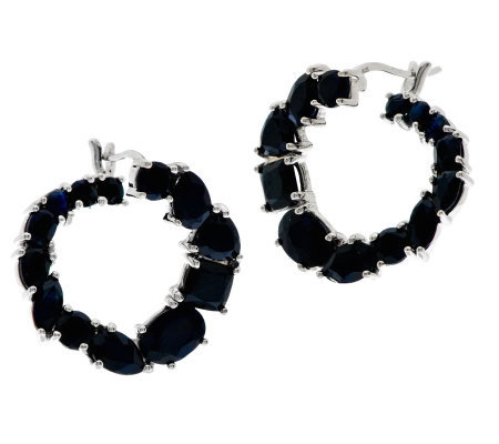 """As Is"" 7.80 ct tw Thai Sapphire Sterling Hoop Earrings"