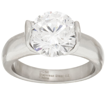 Stainless Steel Diamonique 3.50 cttw Solitaire Ring