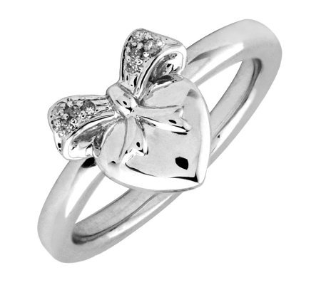 Simply Stacks Sterling & Diamonds Heart with Bow Ring