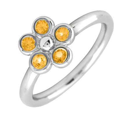 Simply Stacks Sterling & Citrine Sweet Flower Ring