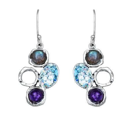Or Paz Sterling Roman Glass & Gemstone Drop Ear rings